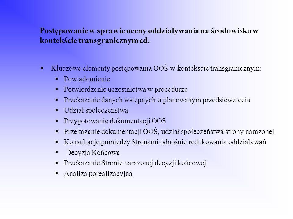 Postępowanie w sprawie oceny oddziaływania na środowisko w kontekście transgranicznym cd.