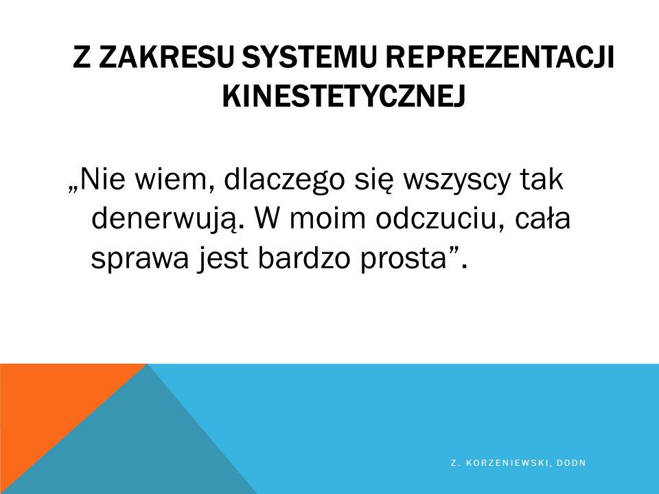Z ZAKRESU SYSTEMU REPREZENTACJI kinestetycznej
