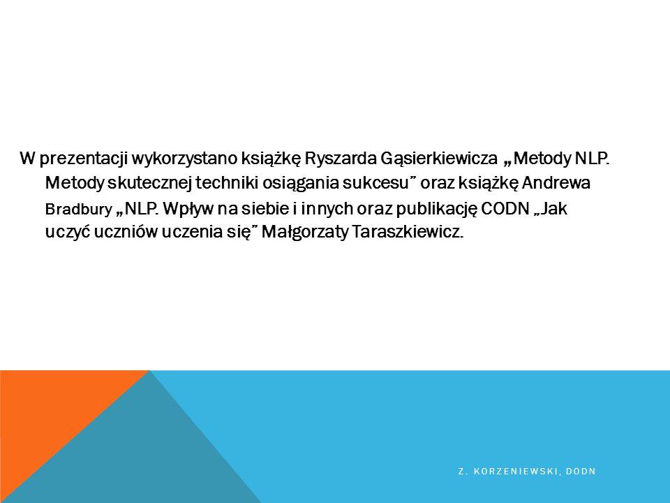 """W prezentacji wykorzystano książkę Ryszarda Gąsierkiewicza """"Metody NLP"""