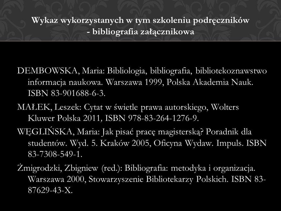 Wykaz wykorzystanych w tym szkoleniu podręczników - bibliografia załącznikowa