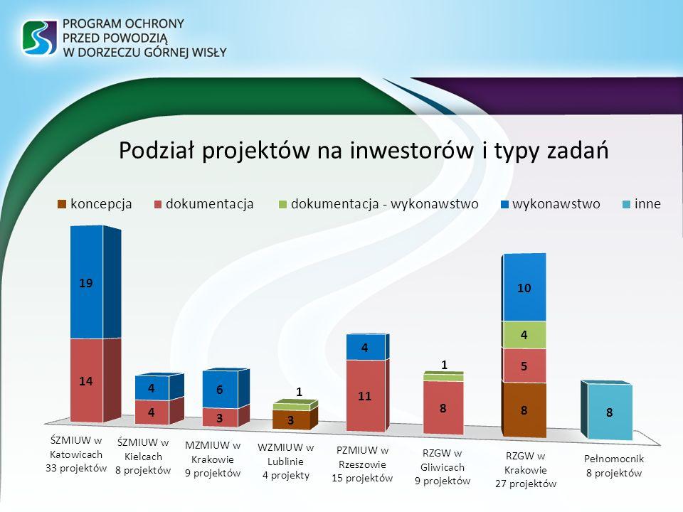 Podział projektów na inwestorów i typy zadań