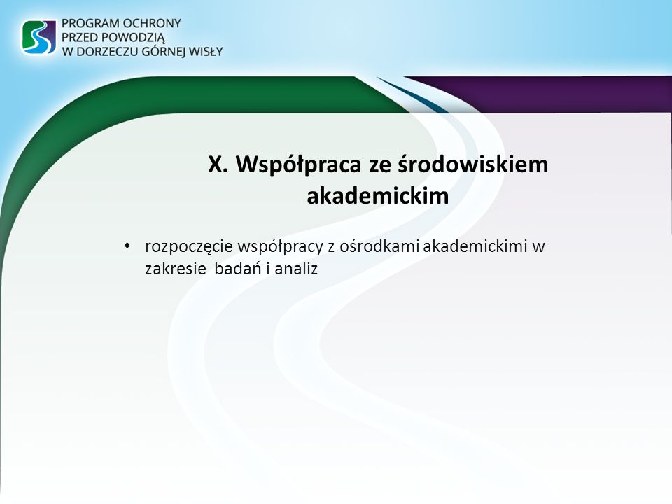 X. Współpraca ze środowiskiem akademickim