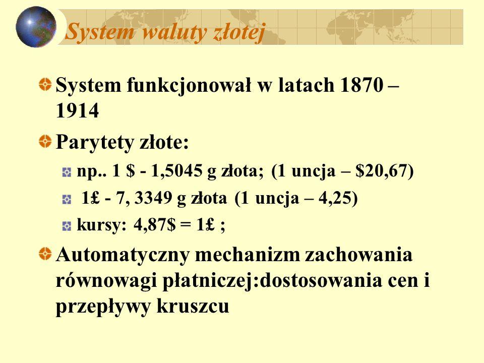 System waluty złotej System funkcjonował w latach 1870 – 1914