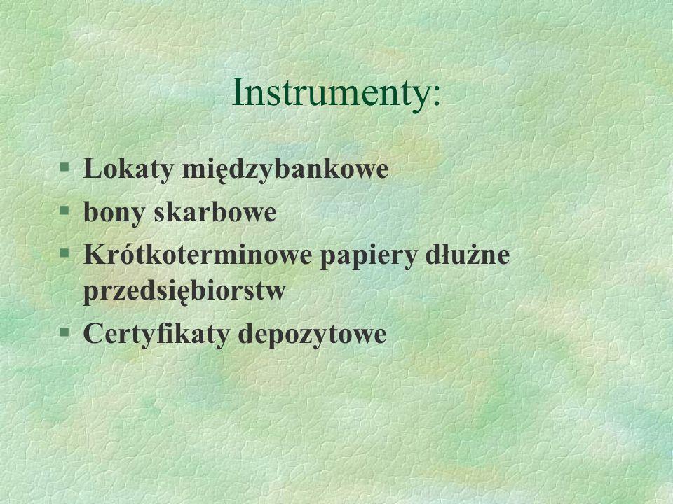 Instrumenty: Lokaty międzybankowe bony skarbowe