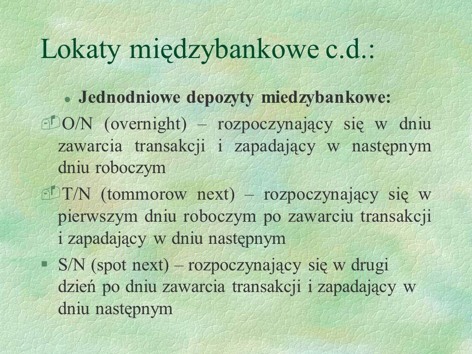Lokaty międzybankowe c.d.: