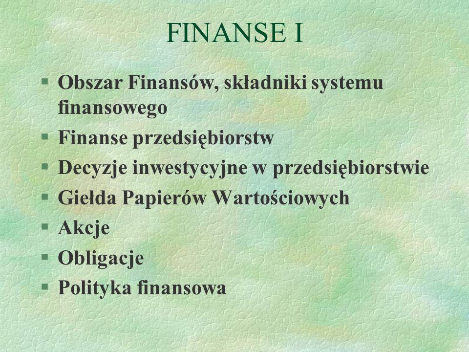FINANSE I Obszar Finansów, składniki systemu finansowego