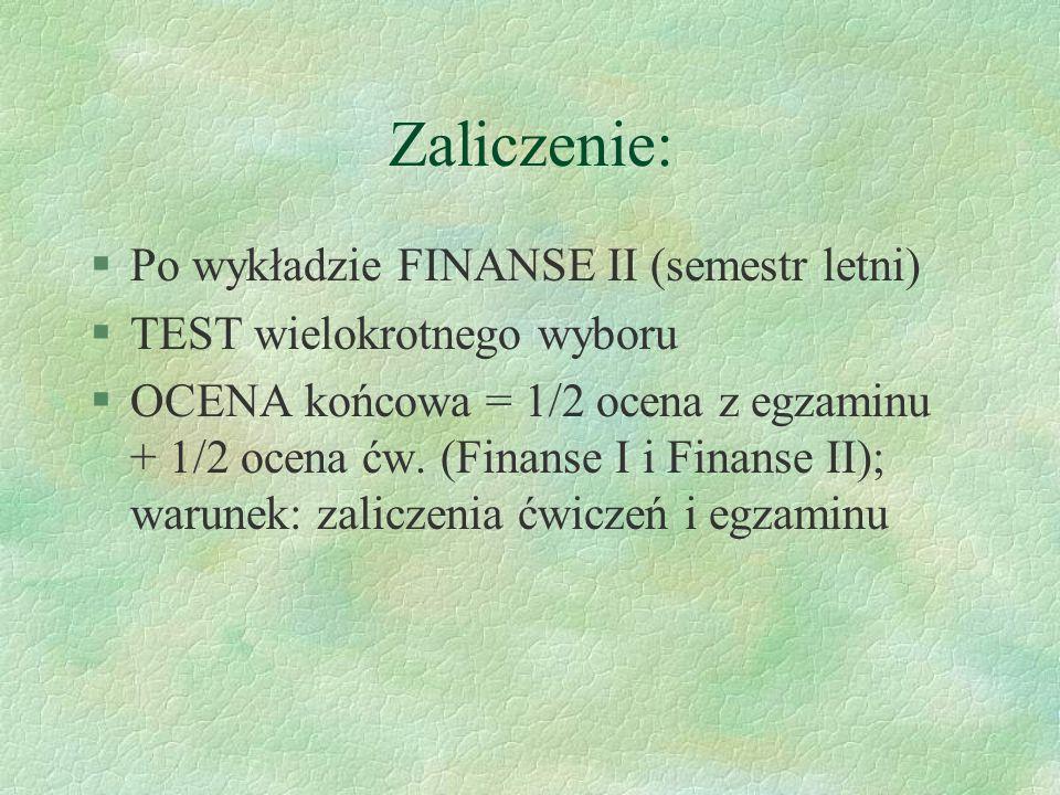 Zaliczenie: Po wykładzie FINANSE II (semestr letni)