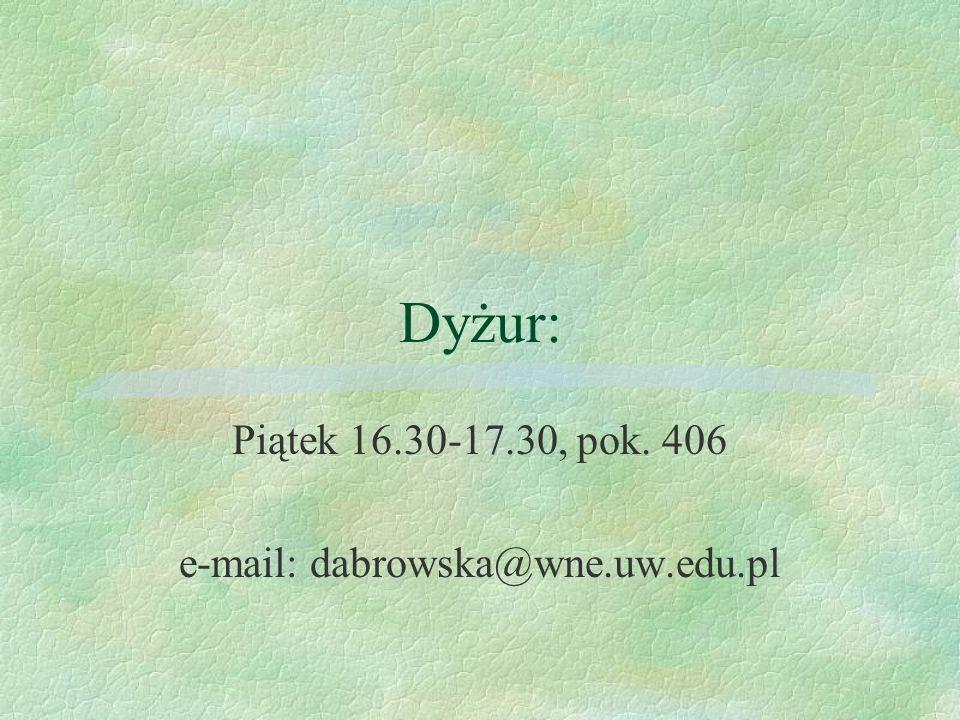 Piątek 16.30-17.30, pok. 406 e-mail: dabrowska@wne.uw.edu.pl