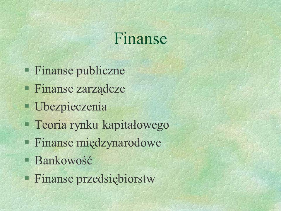 Finanse Finanse publiczne Finanse zarządcze Ubezpieczenia