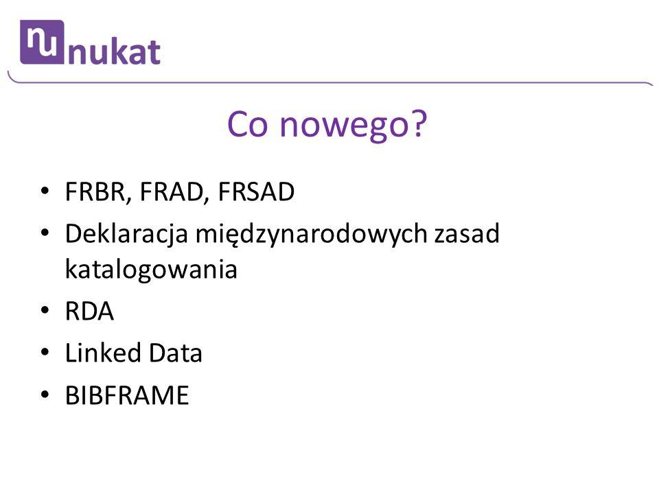 Co nowego FRBR, FRAD, FRSAD