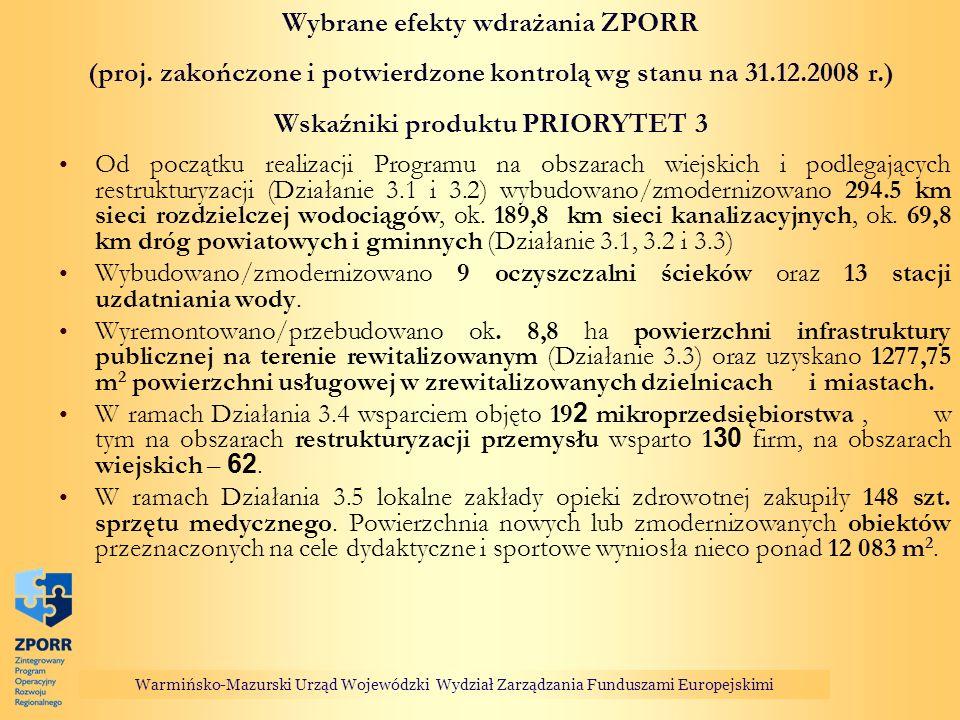 Wybrane efekty wdrażania ZPORR