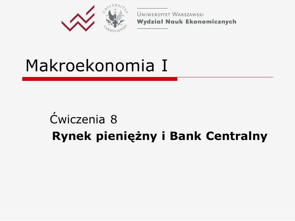 Ćwiczenia 8 Rynek pieniężny i Bank Centralny