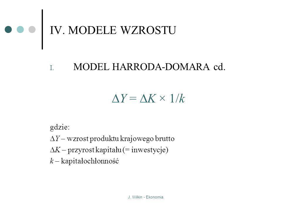 DY = DK × 1/k IV. MODELE WZROSTU MODEL HARRODA-DOMARA cd. gdzie: