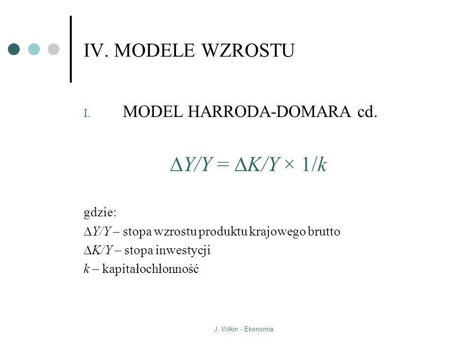 DY/Y = DK/Y × 1/k IV. MODELE WZROSTU MODEL HARRODA-DOMARA cd. gdzie: