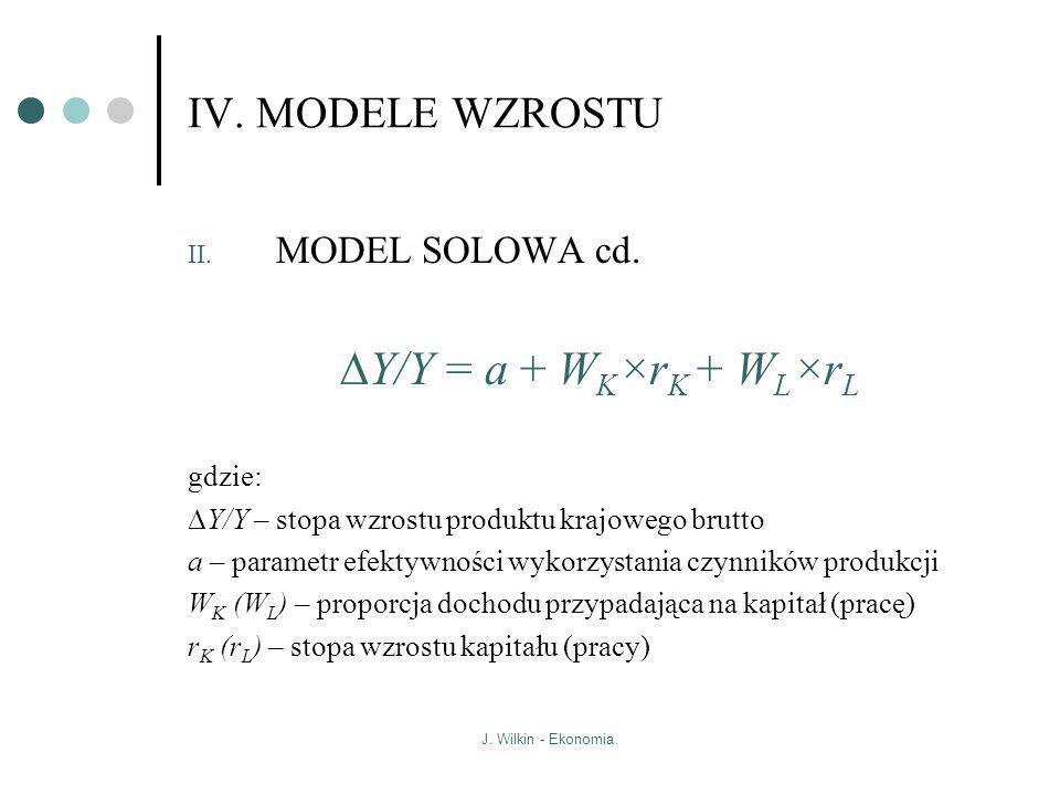 DY/Y = a + WK×rK + WL×rL IV. MODELE WZROSTU MODEL SOLOWA cd. gdzie: