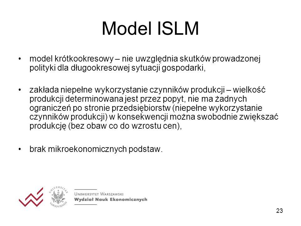 Model ISLM model krótkookresowy – nie uwzględnia skutków prowadzonej polityki dla długookresowej sytuacji gospodarki,