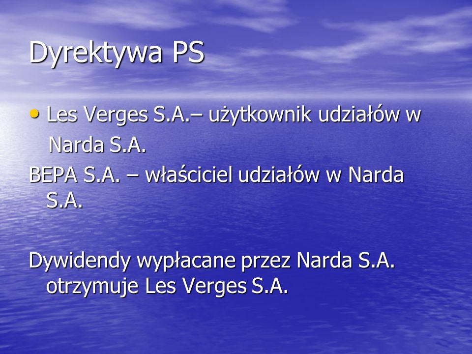 Dyrektywa PS Les Verges S.A.– użytkownik udziałów w Narda S.A.