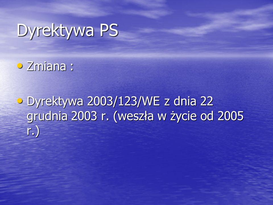 Dyrektywa PS Zmiana : Dyrektywa 2003/123/WE z dnia 22 grudnia 2003 r. (weszła w życie od 2005 r.)