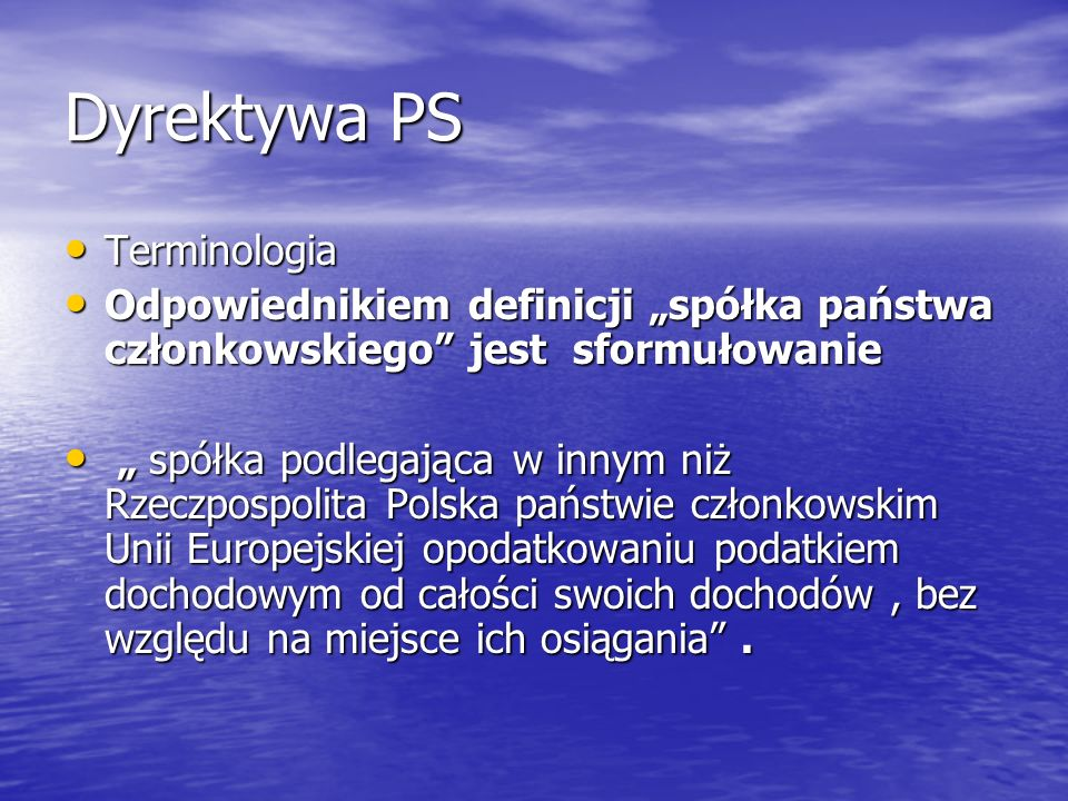 Dyrektywa PS Terminologia