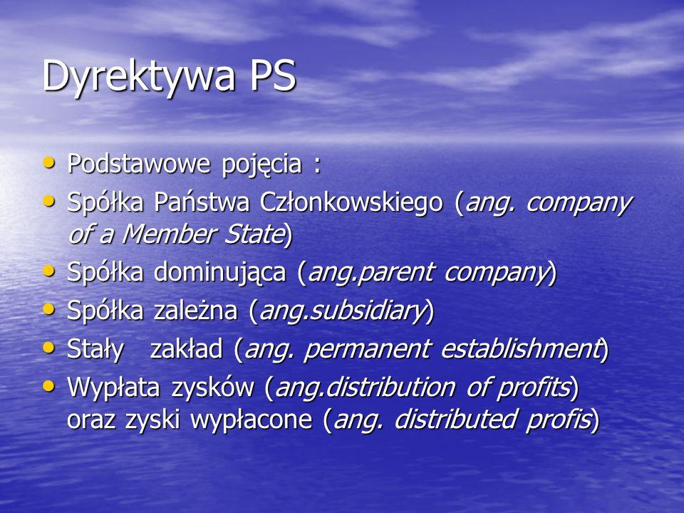 Dyrektywa PS Podstawowe pojęcia :
