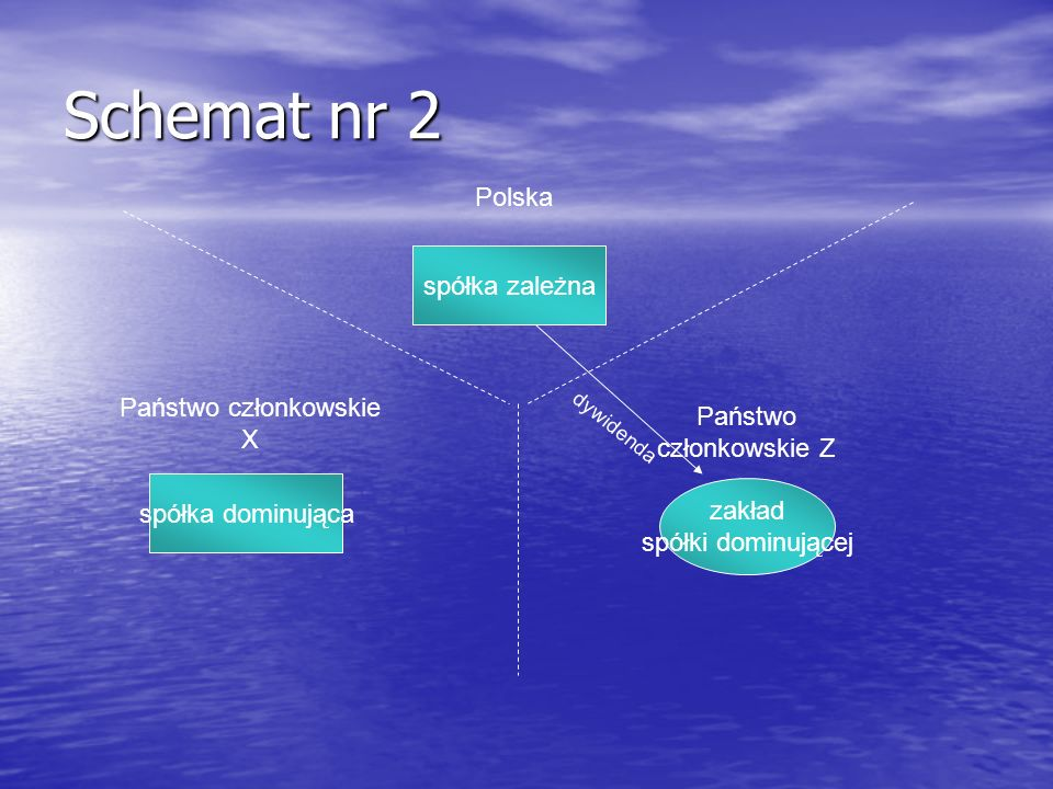 Schemat nr 2 Polska spółka zależna Państwo członkowskie X