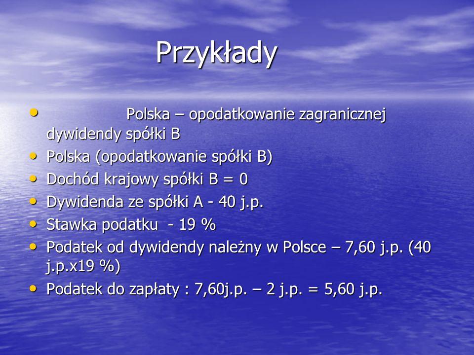 Przykłady Polska – opodatkowanie zagranicznej dywidendy spółki B