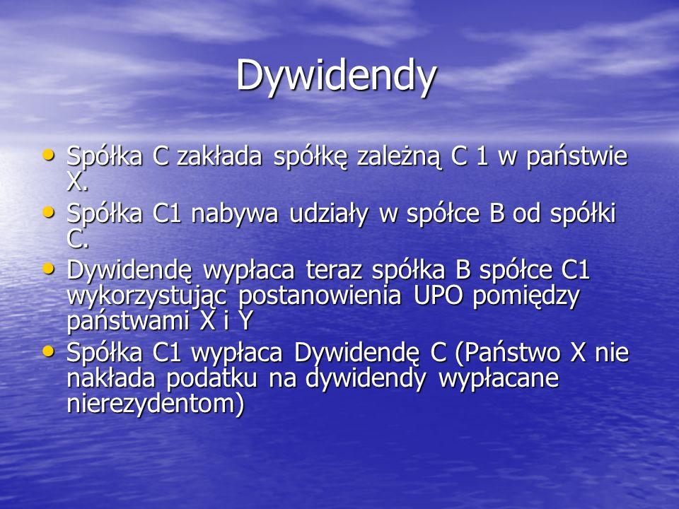 Dywidendy Spółka C zakłada spółkę zależną C 1 w państwie X.