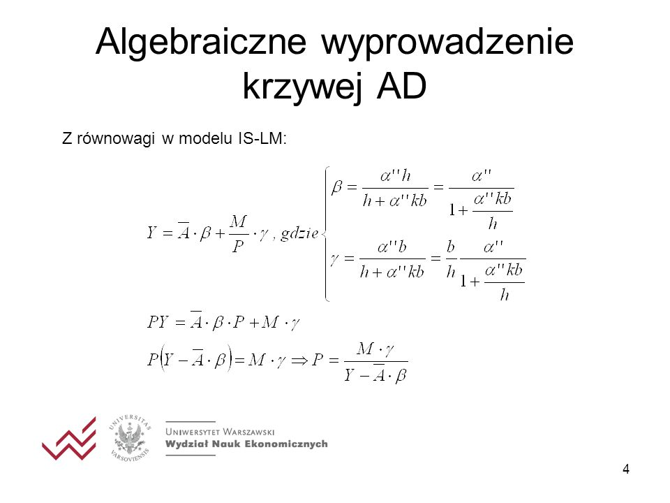 Algebraiczne wyprowadzenie krzywej AD