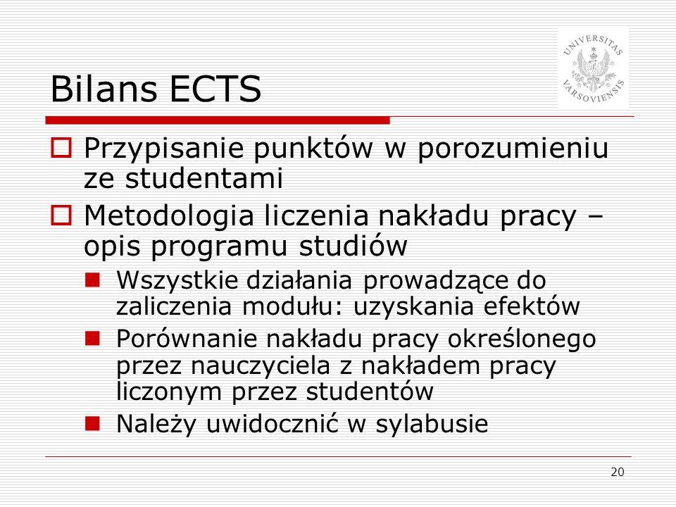 Bilans ECTS Przypisanie punktów w porozumieniu ze studentami