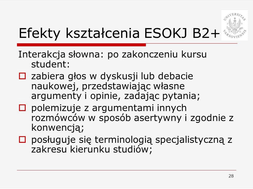 Efekty kształcenia ESOKJ B2+