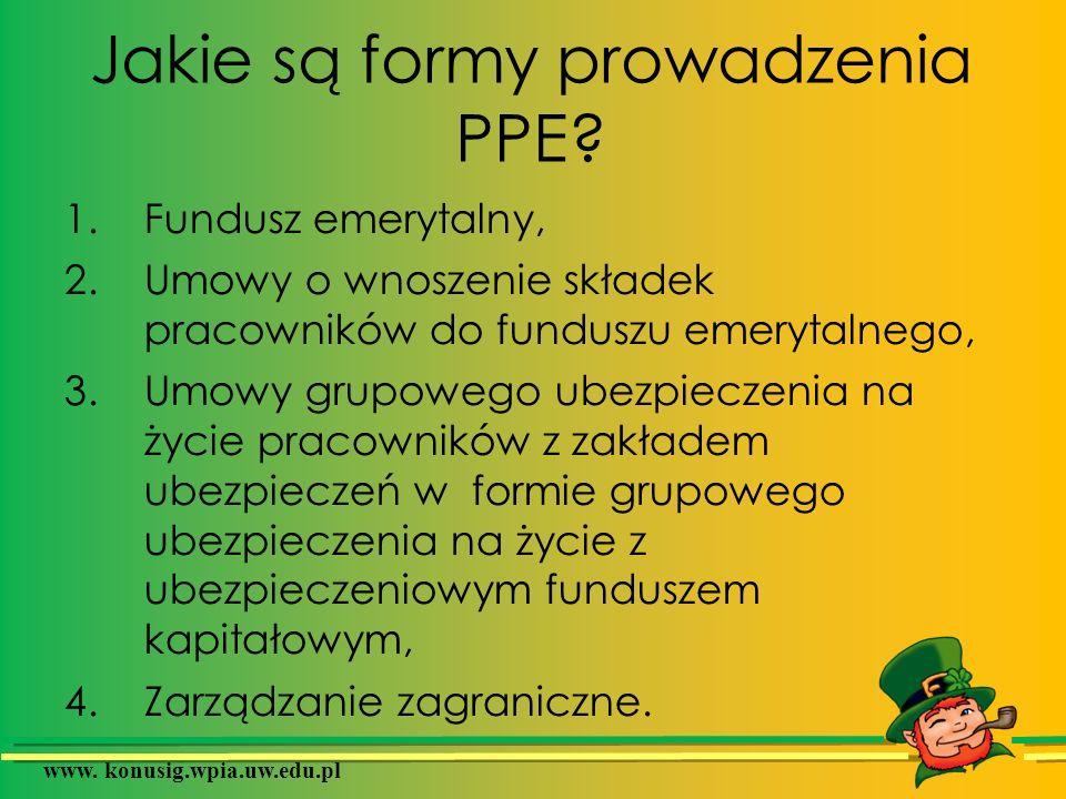 Jakie są formy prowadzenia PPE