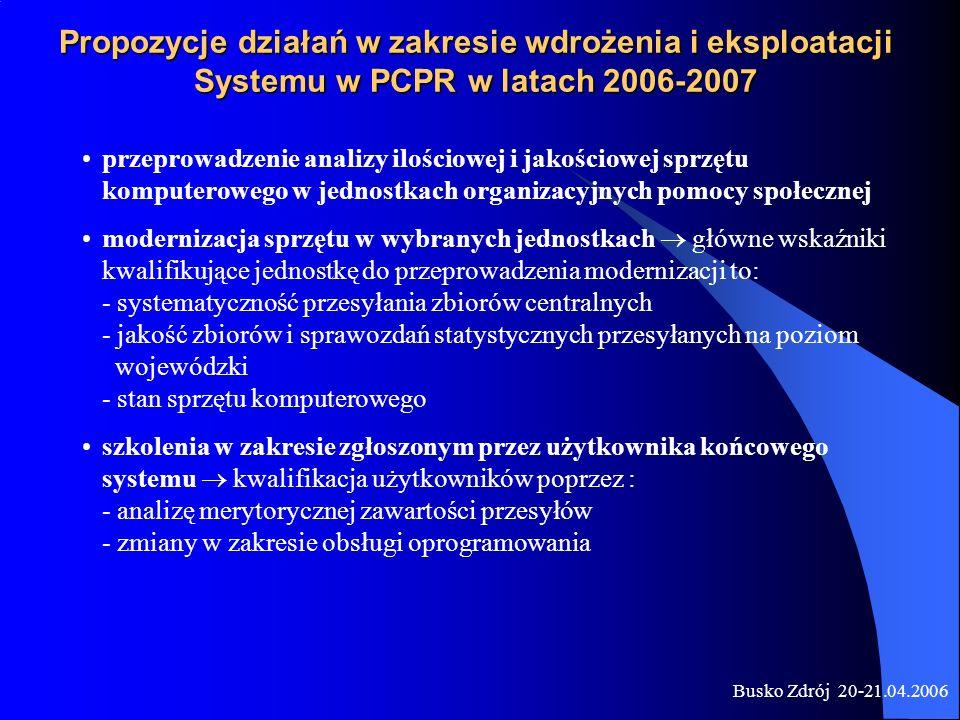 Propozycje działań w zakresie wdrożenia i eksploatacji Systemu w PCPR w latach 2006-2007