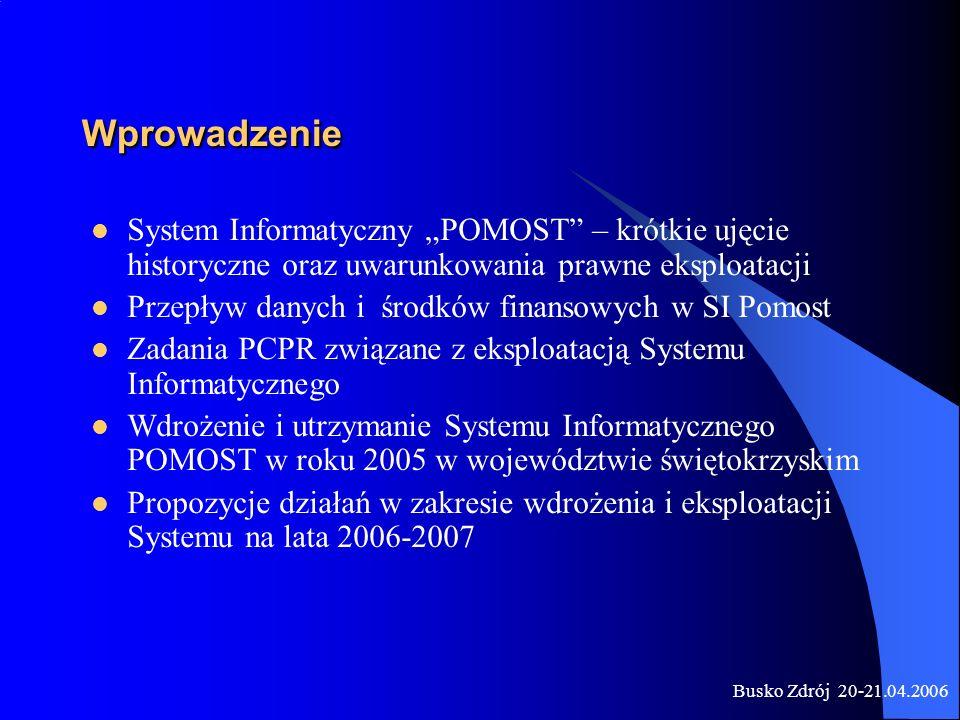 """Wprowadzenie System Informatyczny """"POMOST – krótkie ujęcie historyczne oraz uwarunkowania prawne eksploatacji."""