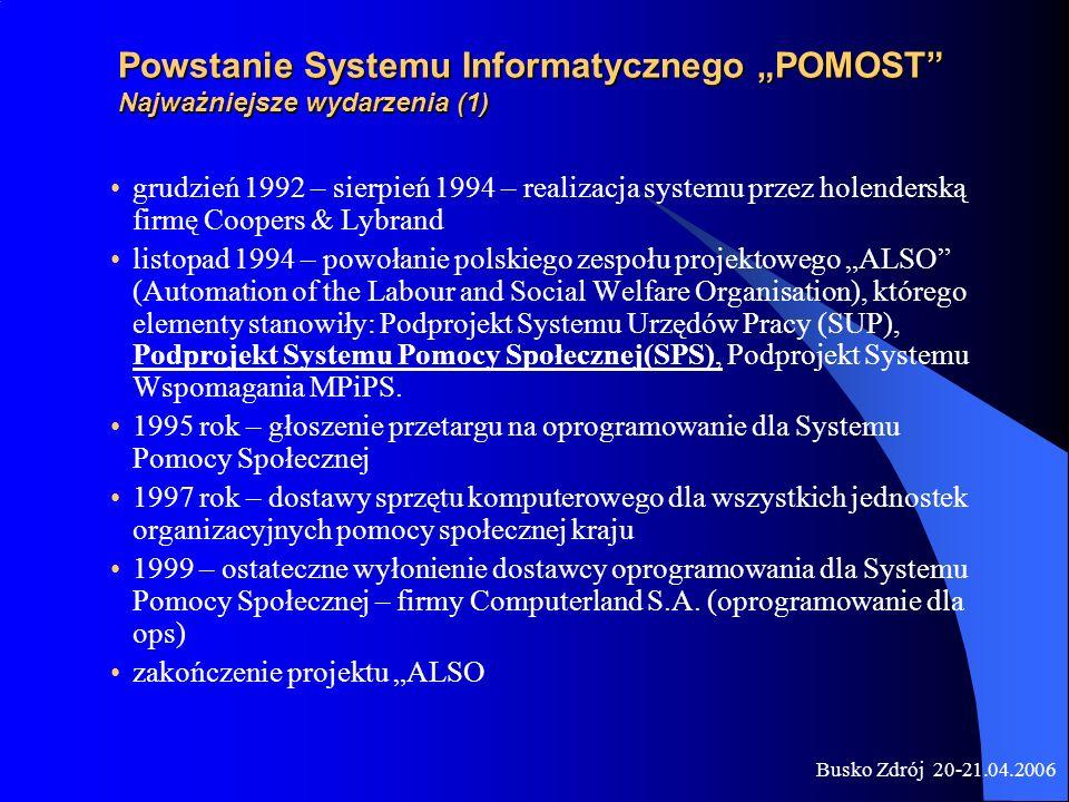 """Powstanie Systemu Informatycznego """"POMOST Najważniejsze wydarzenia (1)"""