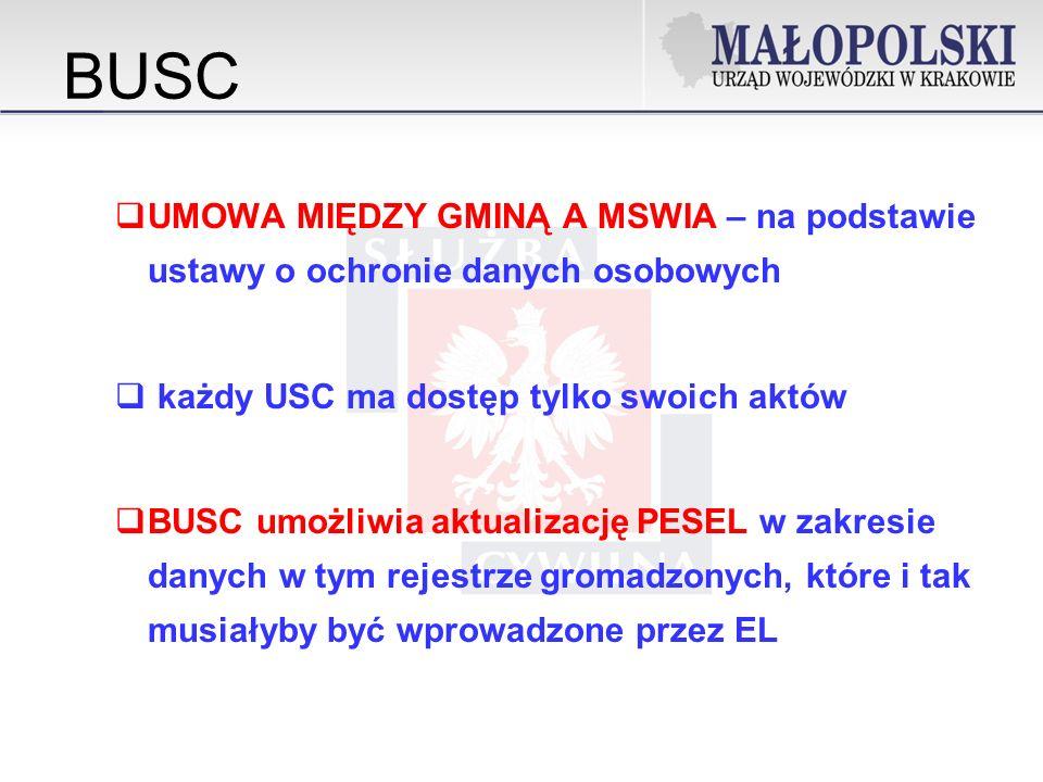 BUSC UMOWA MIĘDZY GMINĄ A MSWIA – na podstawie ustawy o ochronie danych osobowych. każdy USC ma dostęp tylko swoich aktów.