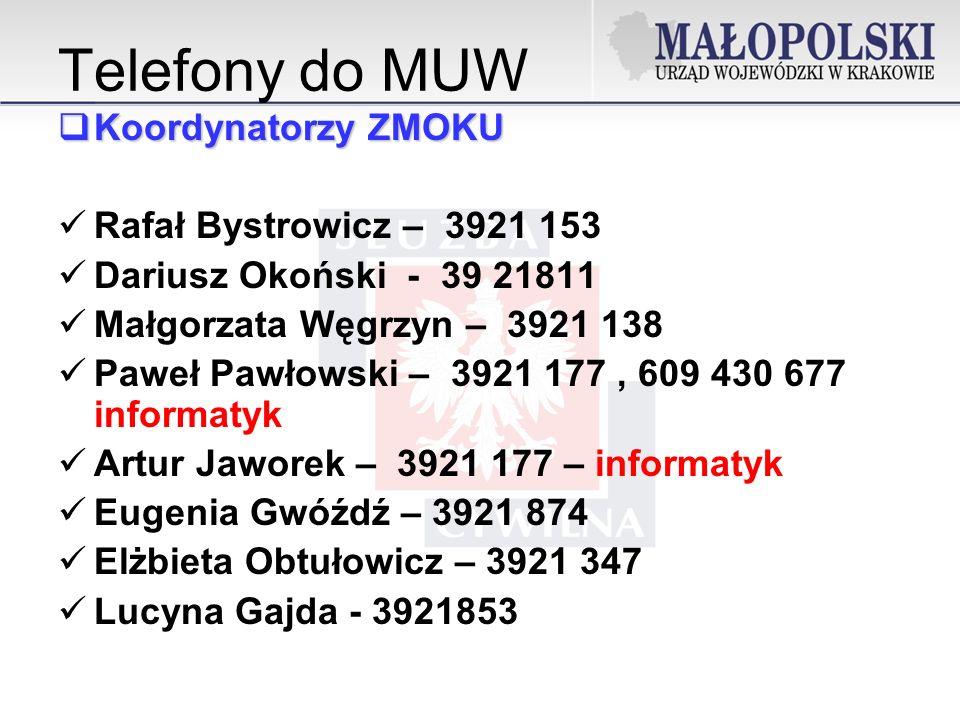 Telefony do MUW Koordynatorzy ZMOKU Rafał Bystrowicz – 3921 153