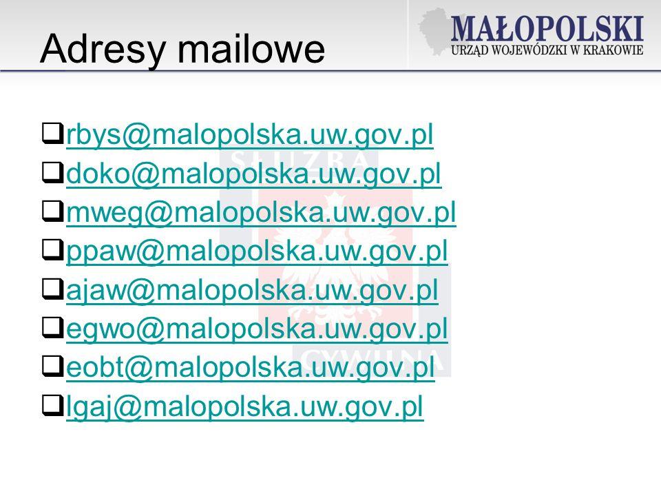 Adresy mailowe rbys@malopolska.uw.gov.pl doko@malopolska.uw.gov.pl