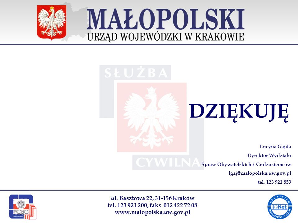 DZIĘKUJĘ Lucyna Gajda. Dyrektor Wydziału. Spraw Obywatelskich i Cudzoziemców. lgaj@malopolska.uw.gov.pl.