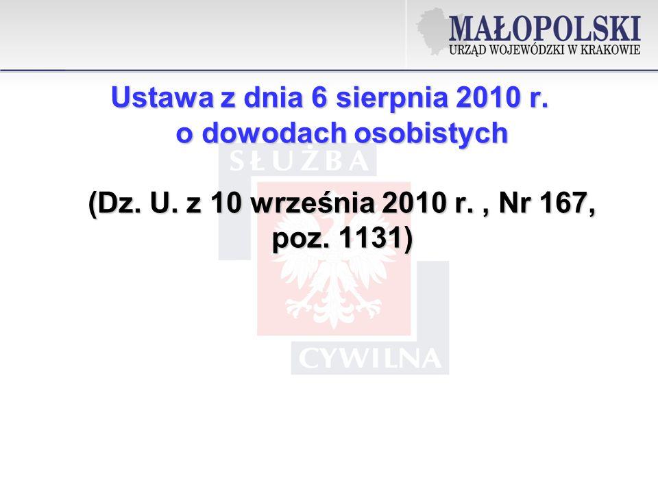 Ustawa z dnia 6 sierpnia 2010 r. o dowodach osobistych (Dz. U