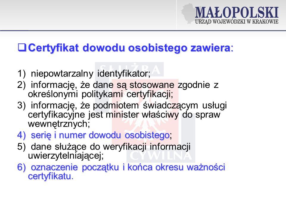 Certyfikat dowodu osobistego zawiera: