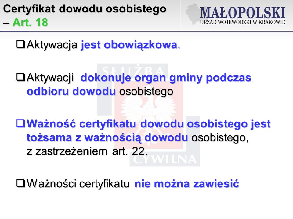 Certyfikat dowodu osobistego – Art. 18
