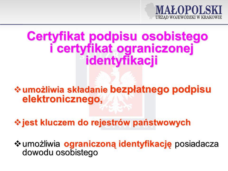Certyfikat podpisu osobistego i certyfikat ograniczonej identyfikacji