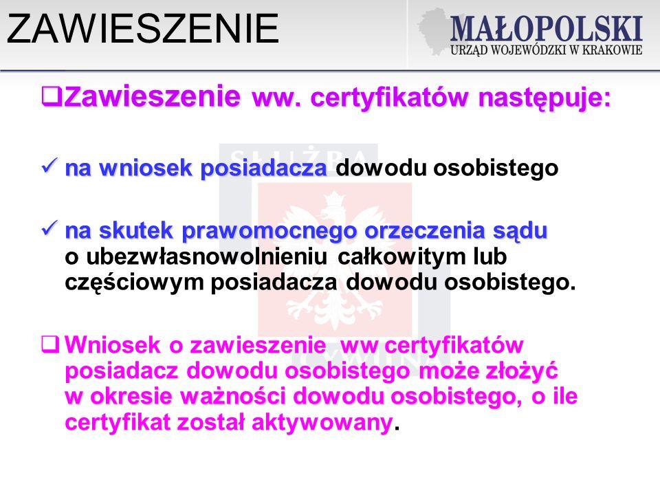 ZAWIESZENIE Zawieszenie ww. certyfikatów następuje: