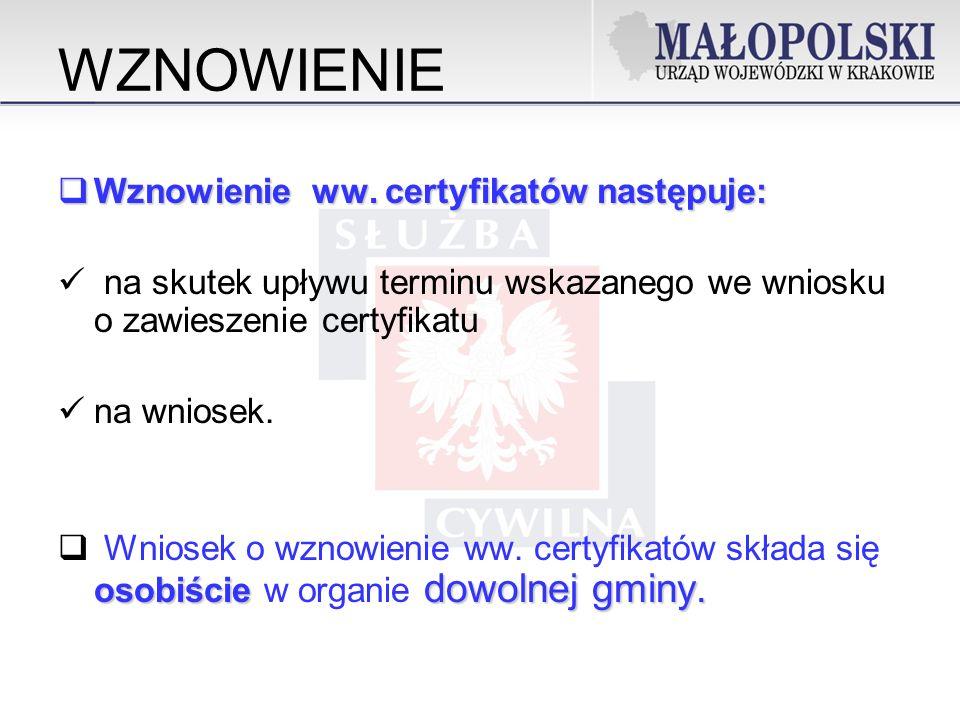 WZNOWIENIE Wznowienie ww. certyfikatów następuje: