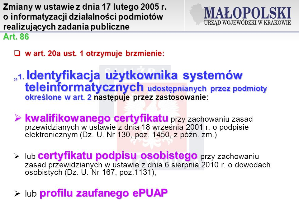 Zmiany w ustawie z dnia 17 lutego 2005 r