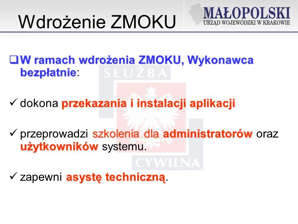 Wdrożenie ZMOKU W ramach wdrożenia ZMOKU, Wykonawca bezpłatnie: