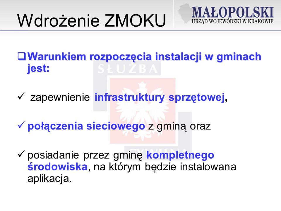 Wdrożenie ZMOKU Warunkiem rozpoczęcia instalacji w gminach jest: