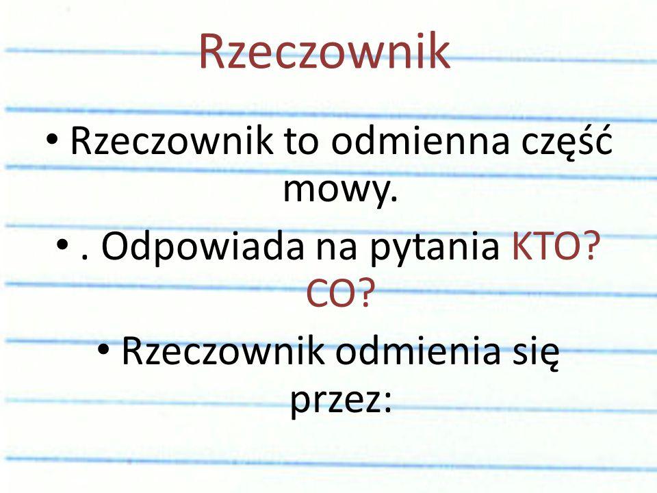 Rzeczownik Rzeczownik to odmienna część mowy.