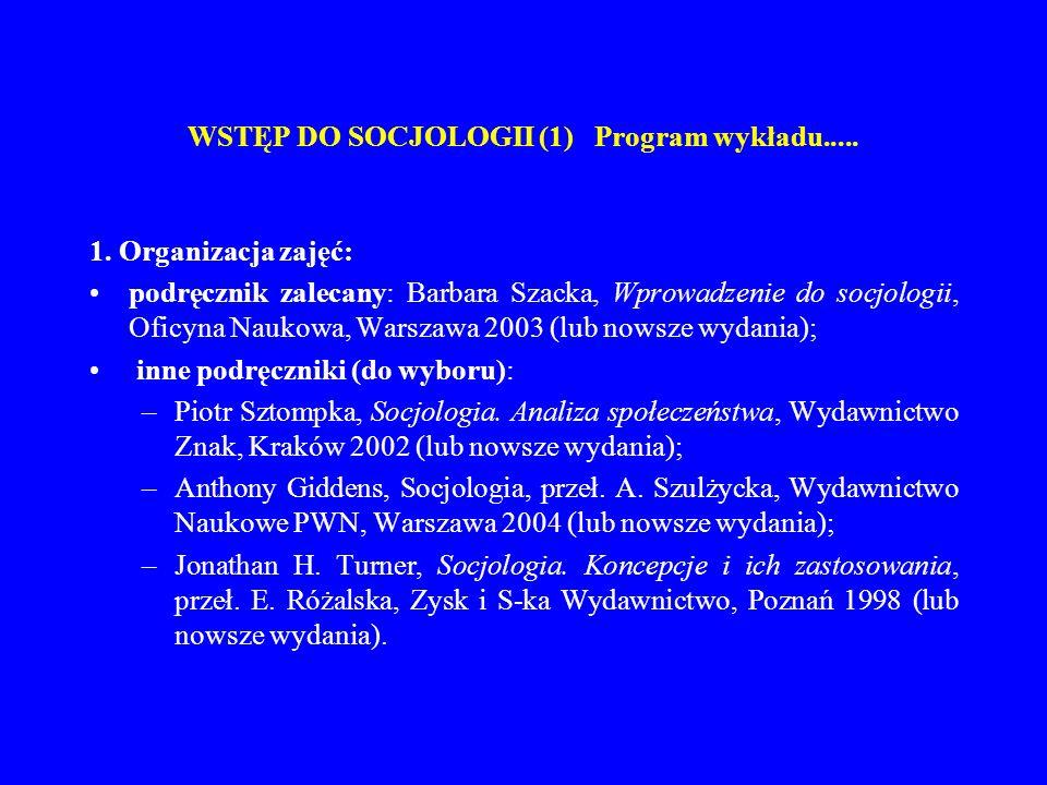 WSTĘP DO SOCJOLOGII (1) Program wykładu.....