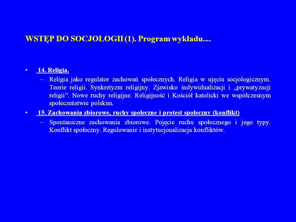 WSTĘP DO SOCJOLOGII (1). Program wykładu....